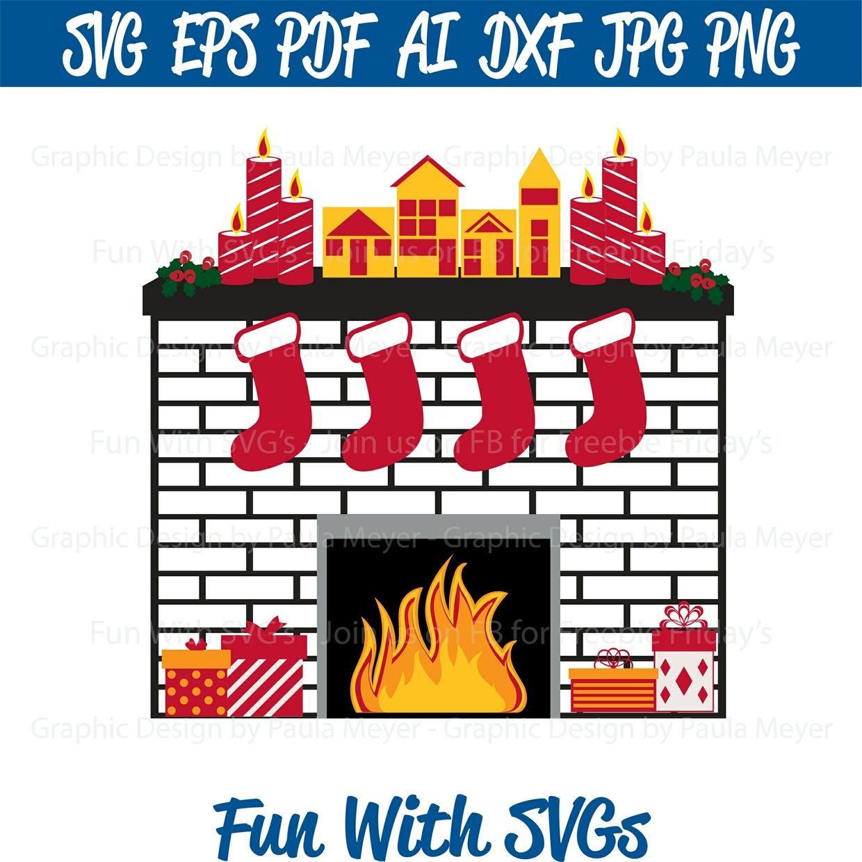 Christmas Fireplace - SVG Cut File, High Resolution Printable Graphics and Editable Vector Art