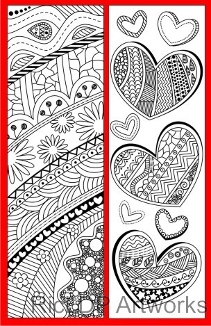4 Coloring Bookmarks with Abstract Patterns (plus 2 colored items)