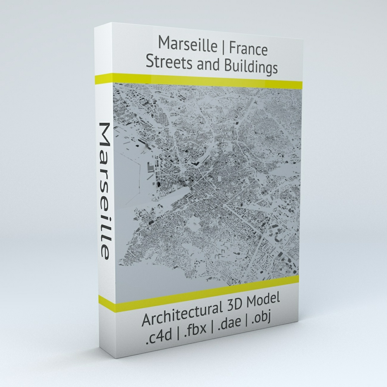 Marseille Streets and Buildings Architectural 3D Model