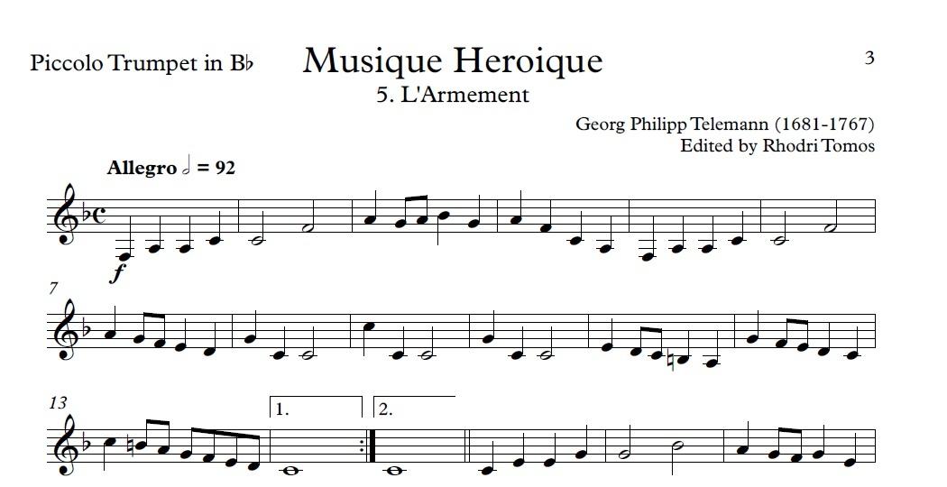 Telemann TWV50:31-42 Heroic Music. Organ accompaniment. Trumpet sheet music.