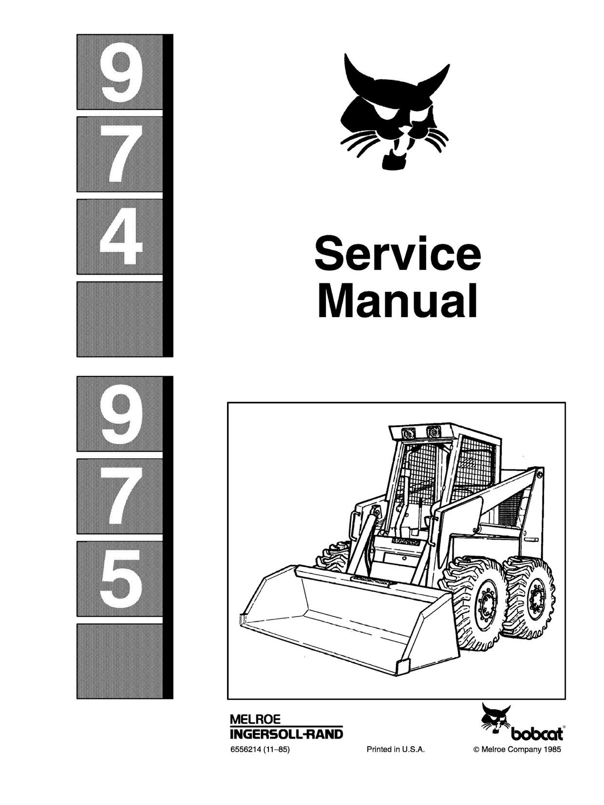 Bobcat 974 975 Skid Steer Complete Service Repair Manual Pdf