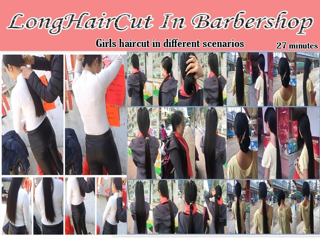Girls haircut in different scenarios