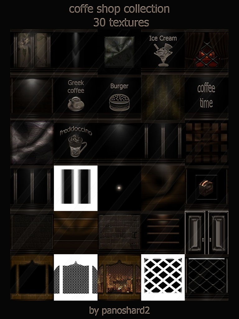 Coffe shop collection 30 textures for imvu room