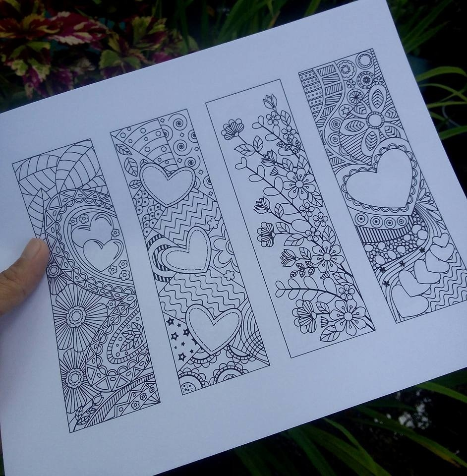 8 Coloring Bookmarks with Hearts