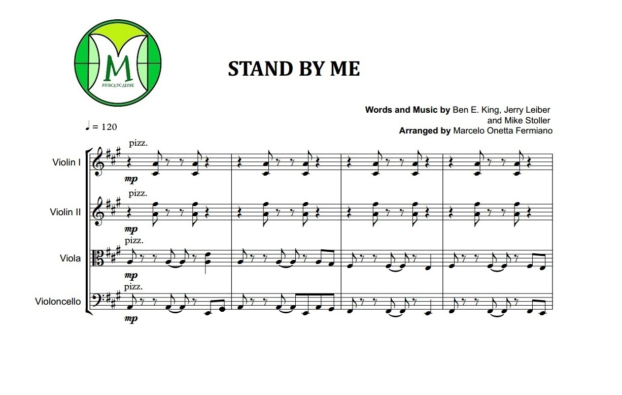 Stand By Me | Ben E. King | Quarteto de Cordas | Partitura Completa | Grade e Partes