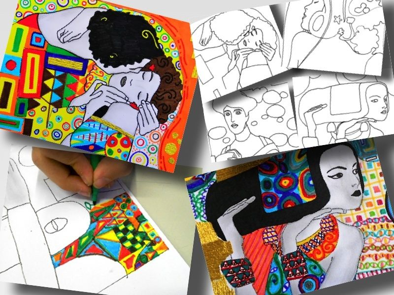 GUSTAV KLIMT second set: 4 printable worksheets