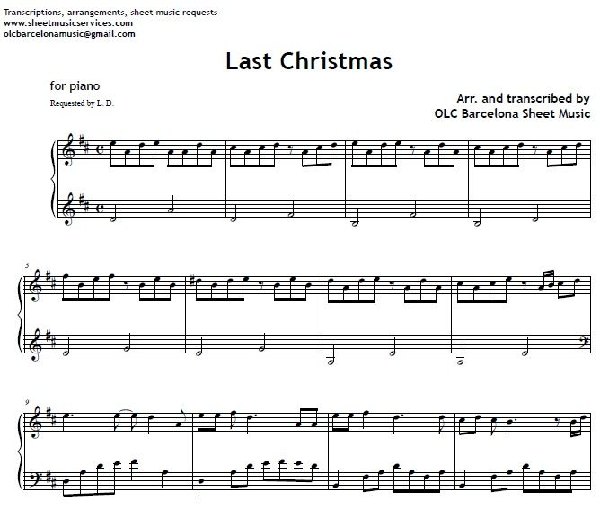Last Christmas - Piano Sheet Music