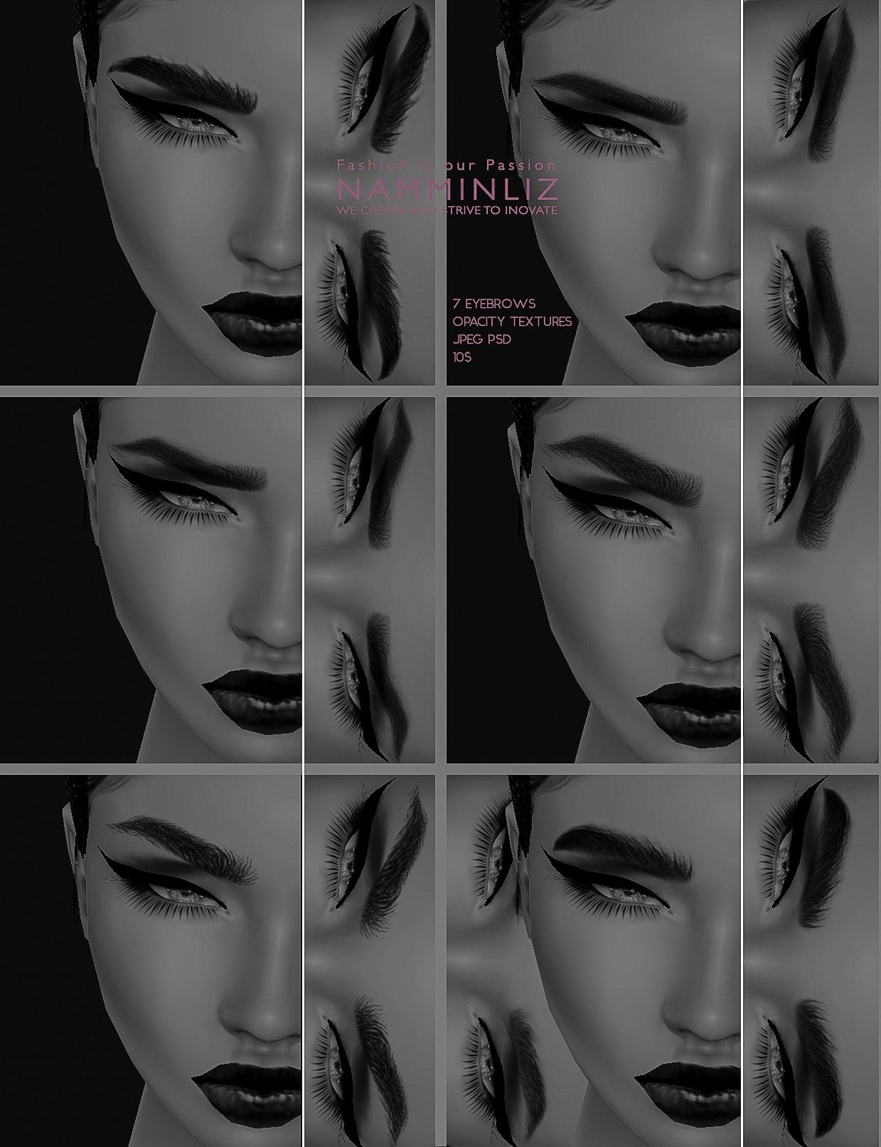 7 Eyebrows Opacity textures JPEG PSD