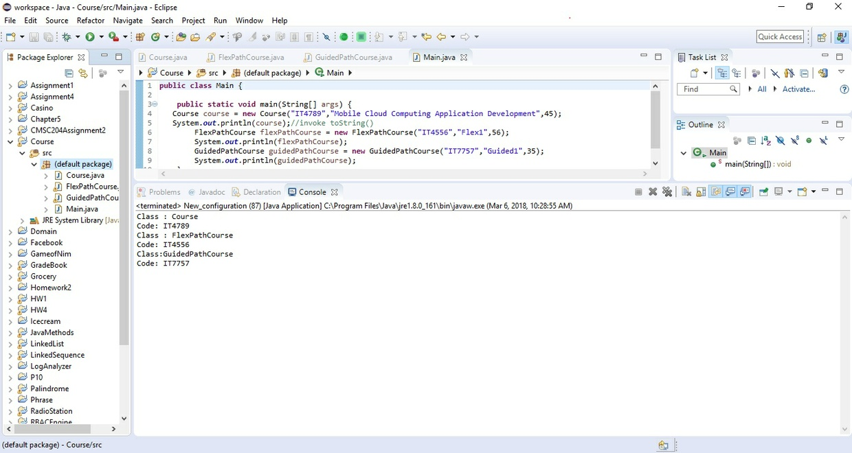 Java class called Course Solution