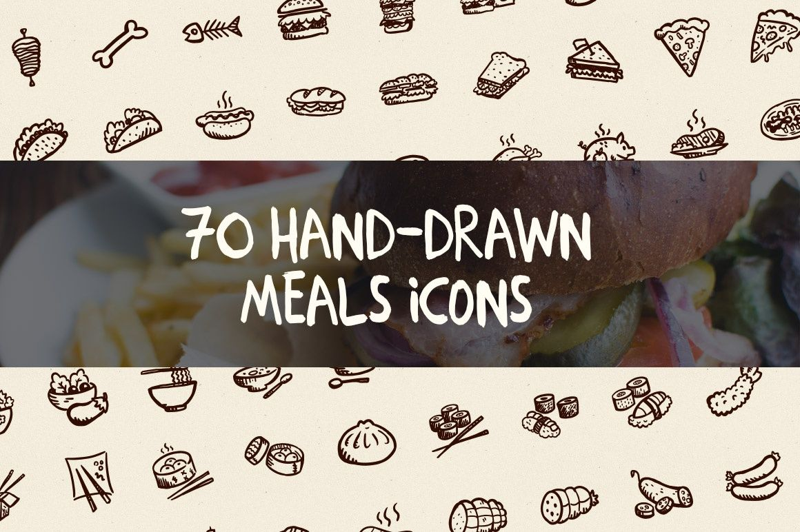 70 Hand-Drawn Meals Icons