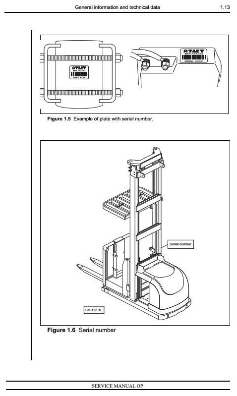 Atlet Picking Truck Type OPC 100, OPH 100, OPM 100, OPS 100 Workshop Service Manual