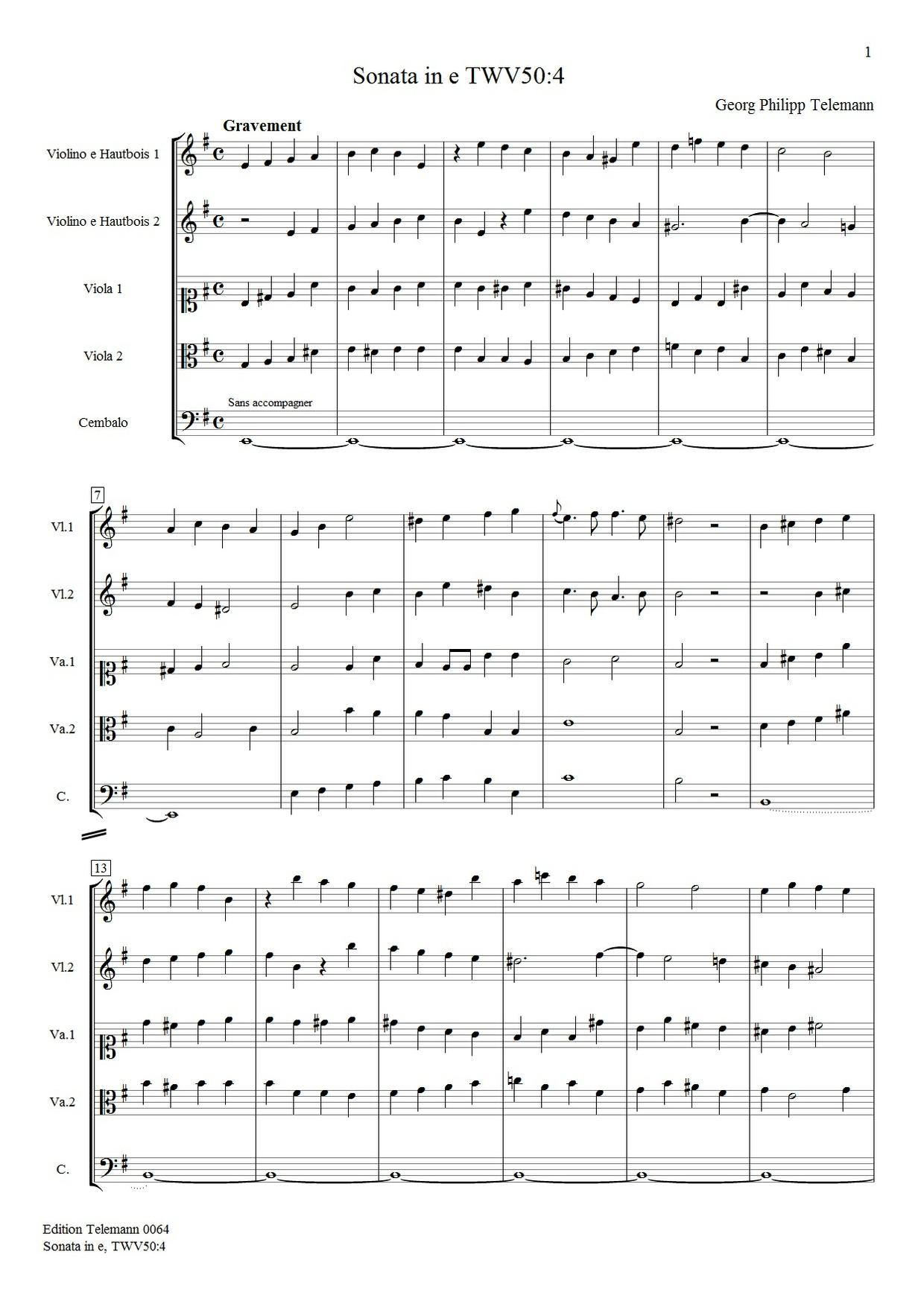 Telemann Sonata in e TWV50 4