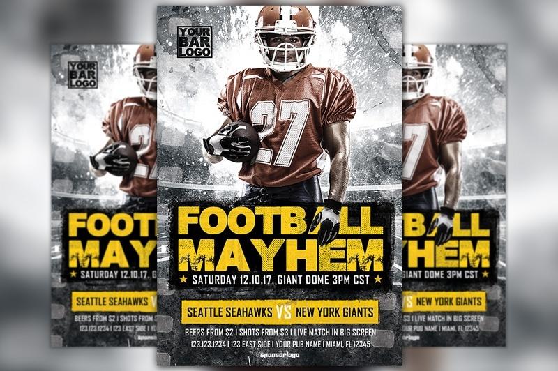 Football Mayhem Vol 2 Flyer Template