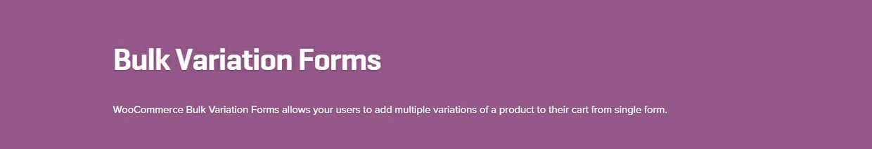 WooCommerce Bulk Variation Forms 1.3.6 Extension
