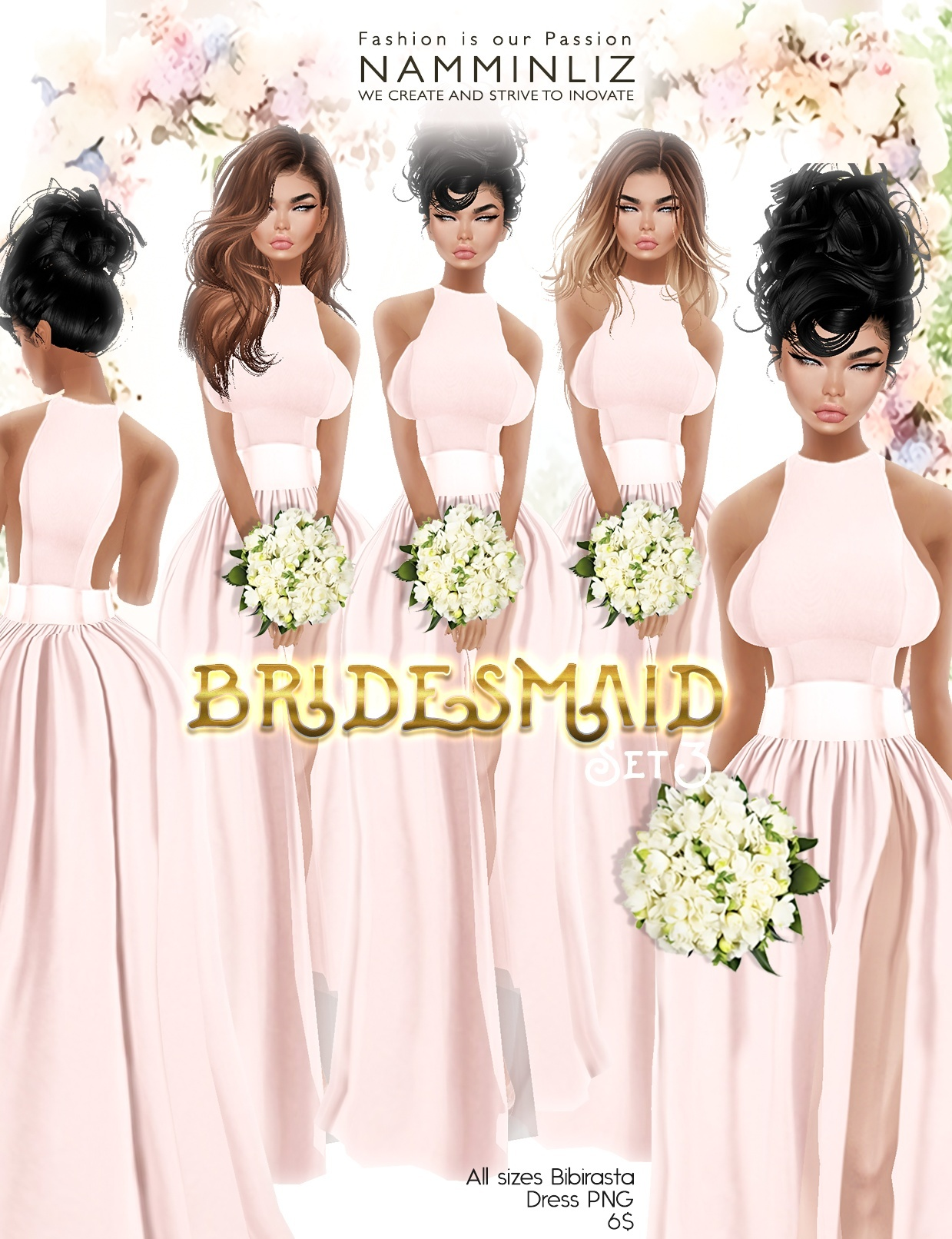Bridesmaid set3 imvu Bibirasta dress all sizes PNG