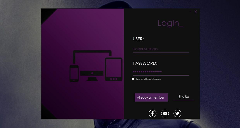 Java Swing - Login Dark Purple (Style Windows) - [NETBEANS PROYECT]