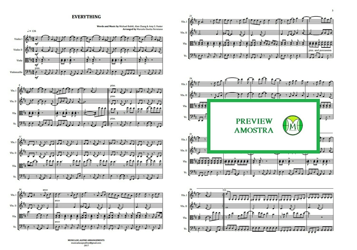 Everything | Michael Buble | String Quartet | Score and Parts