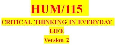 HUM 115 Week 1 Stages of Critical Thinking