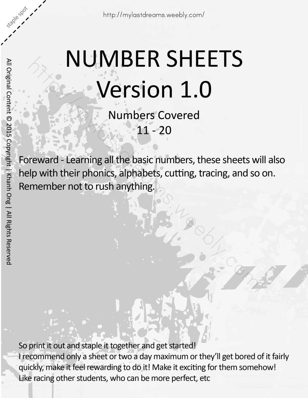 MLD - Basic Numbers Worksheets - Full Set - Letter Sized