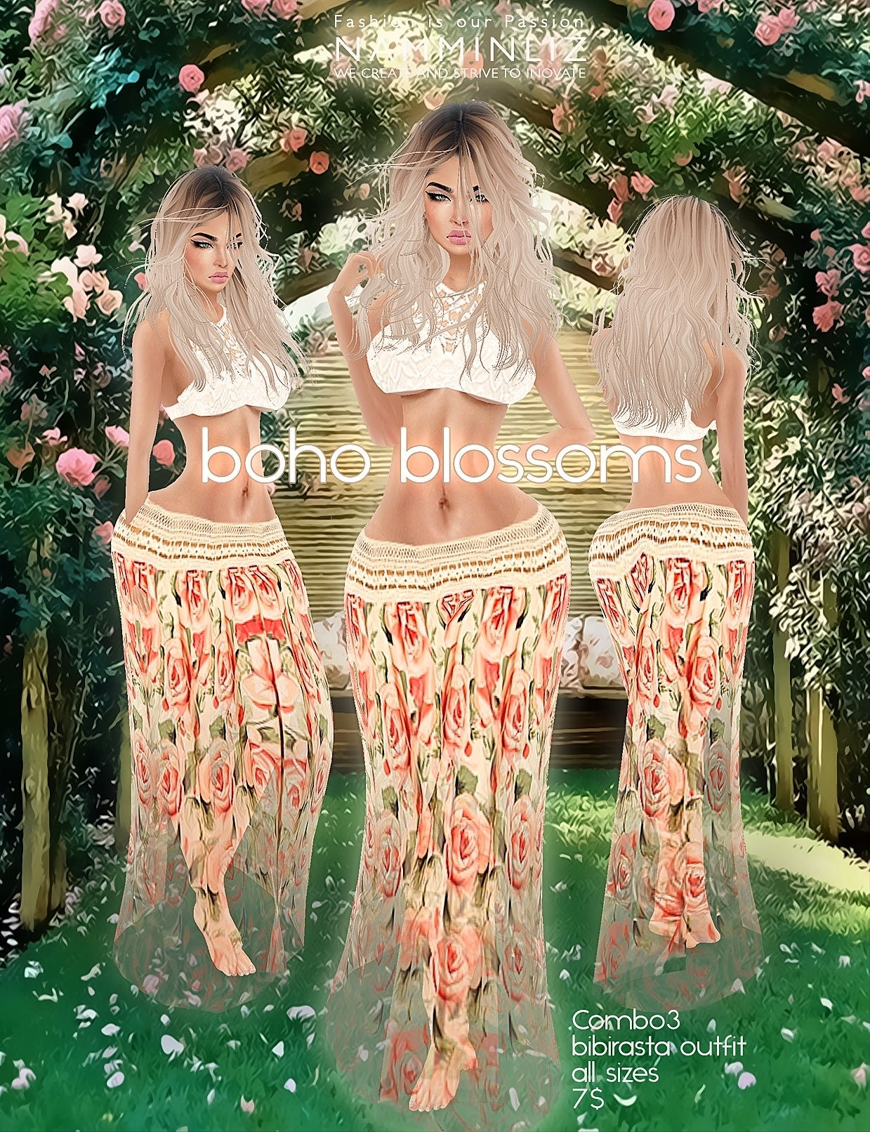 Boho blossoms combo4 all sizes bibirasta imvu texture PNG