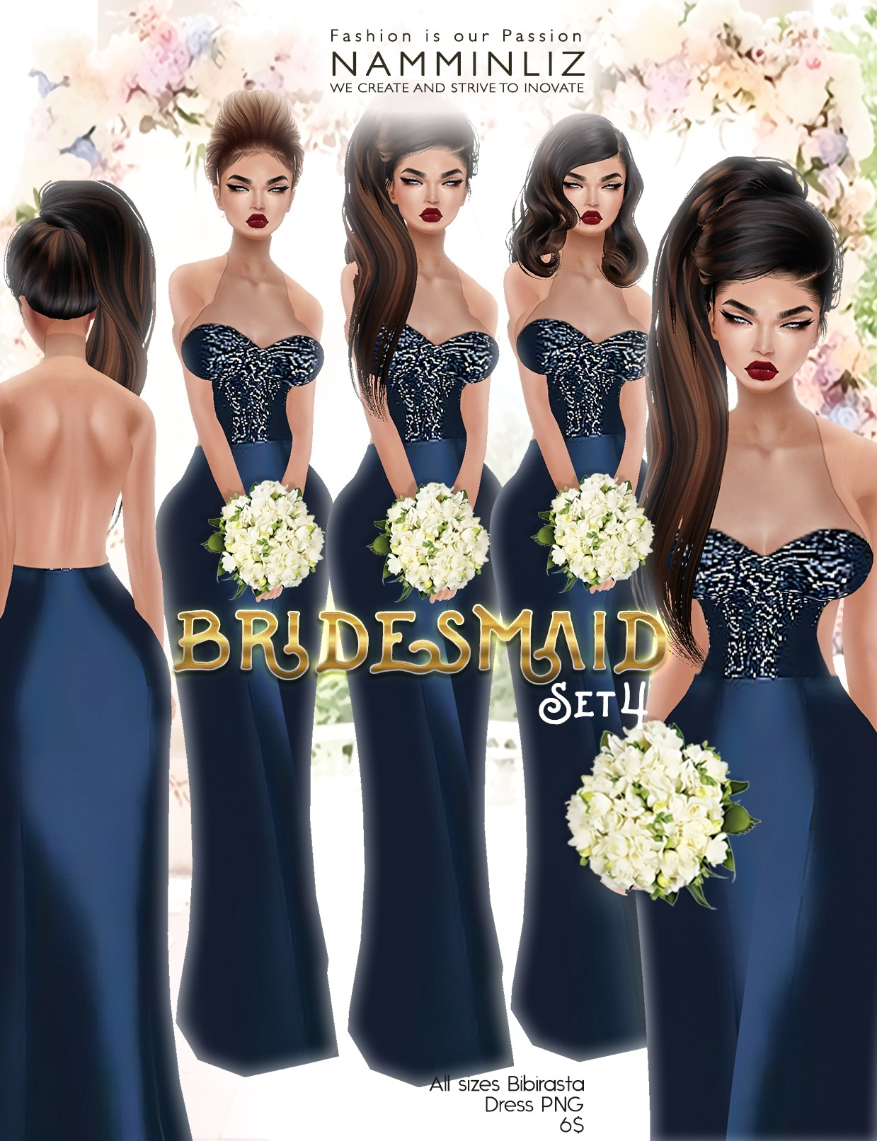Bridesmaid set4 imvu Bibirasta dress all sizes PNG