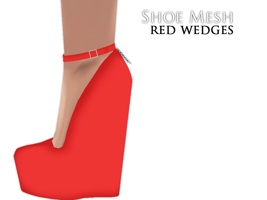 IMVU Mesh - Shoes - Red Wedges
