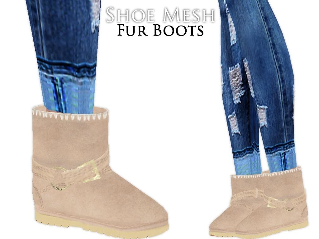 IMVU Mesh - Shoes - Fur Boots