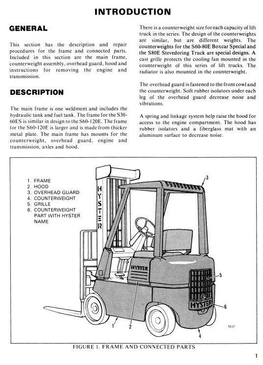 Hyster Forklift Truck C004 Series: S100E, S120E, S60E, S70E, S80E Workshop Service Manual