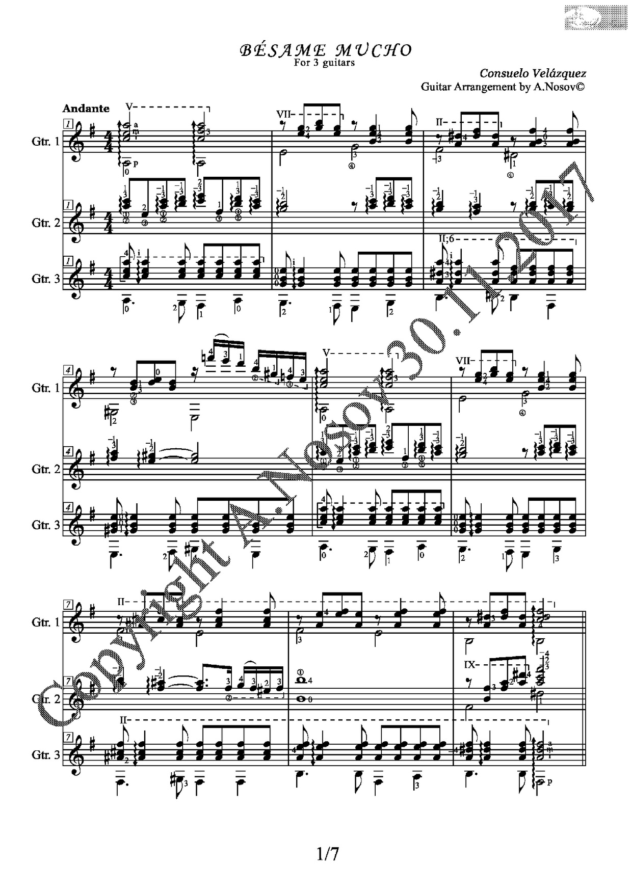 Besame Mucho (C.Velasques) Sheet Music for Guitar Trio