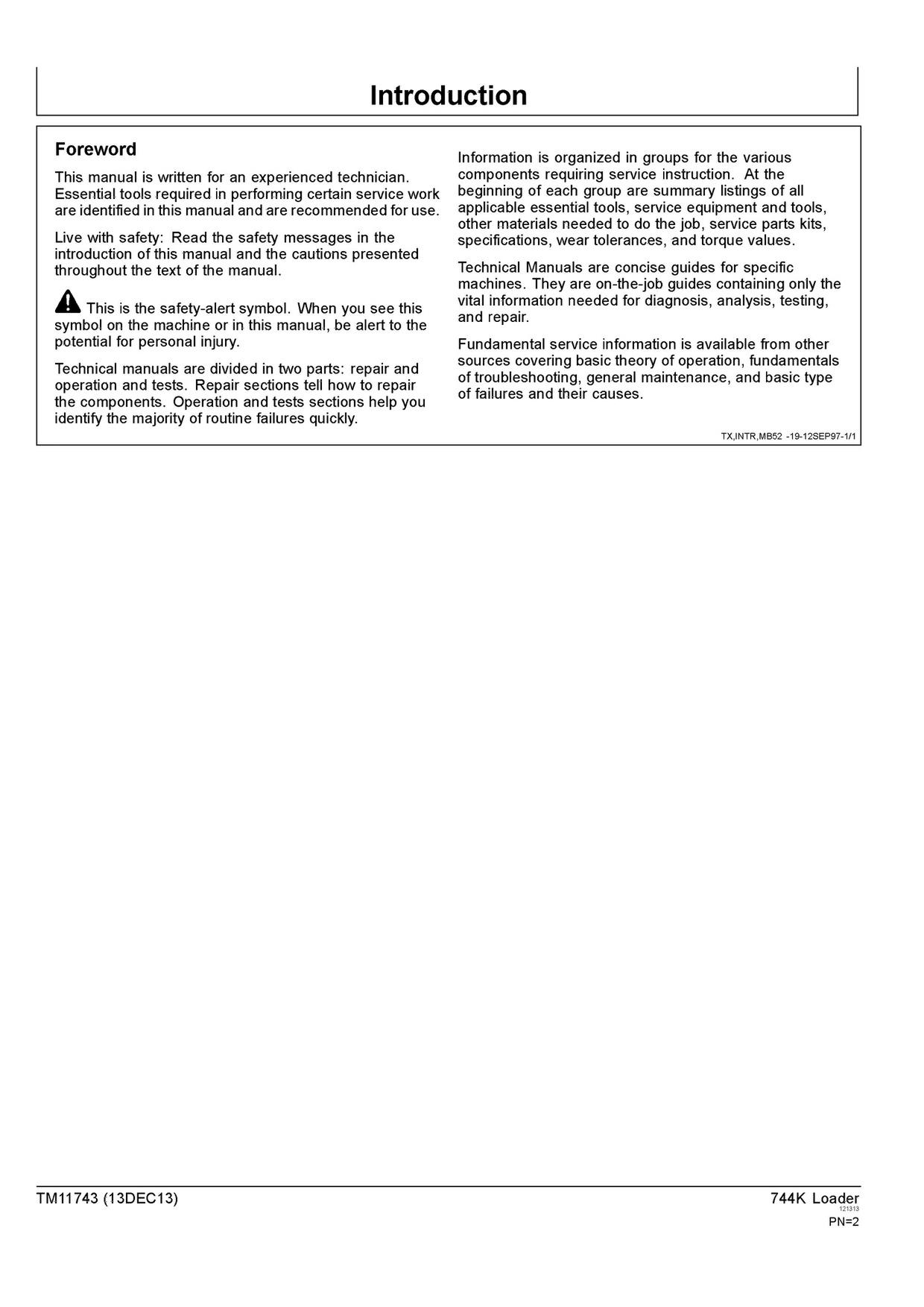 PDF DOWNLOAD JOHN DEERE 744K WHEEL LOADER OPERATION AND TEST TECHNICAL MANUAL TM11743