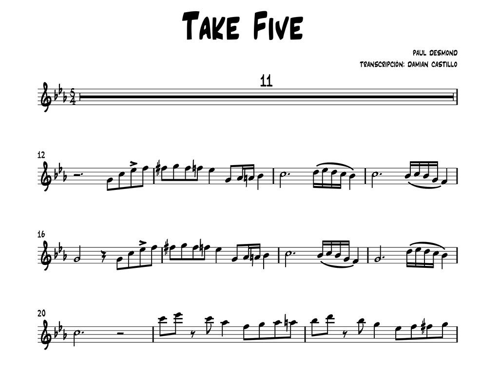 Paul Desmond - Take Five - Sax alto.