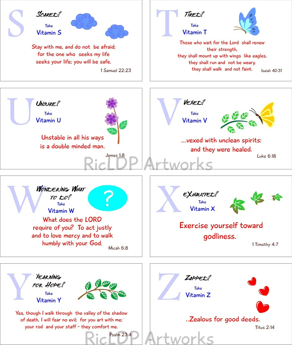 Printable Bible Verse Cards (Spiritual Vitamins A to Z)