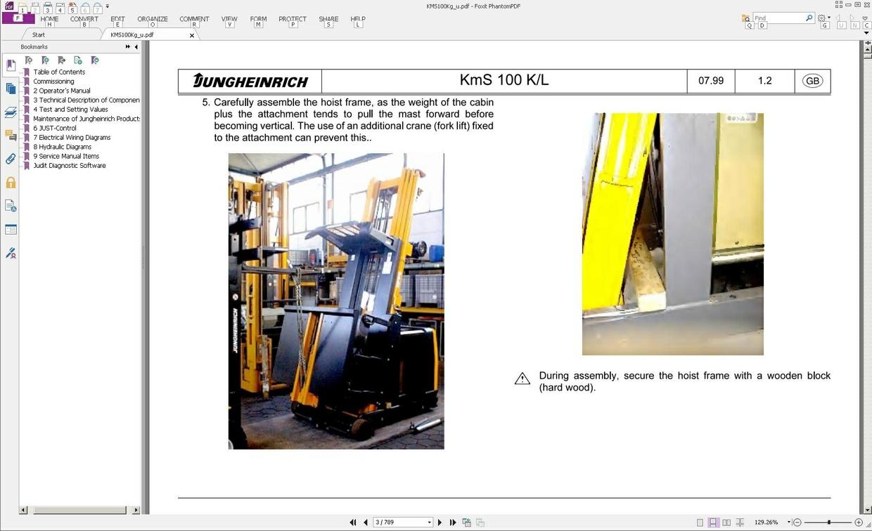 Jungheinrich Order Picker KmS 100K, KmS 100L (07.99-06-04) Workshop Service Manual