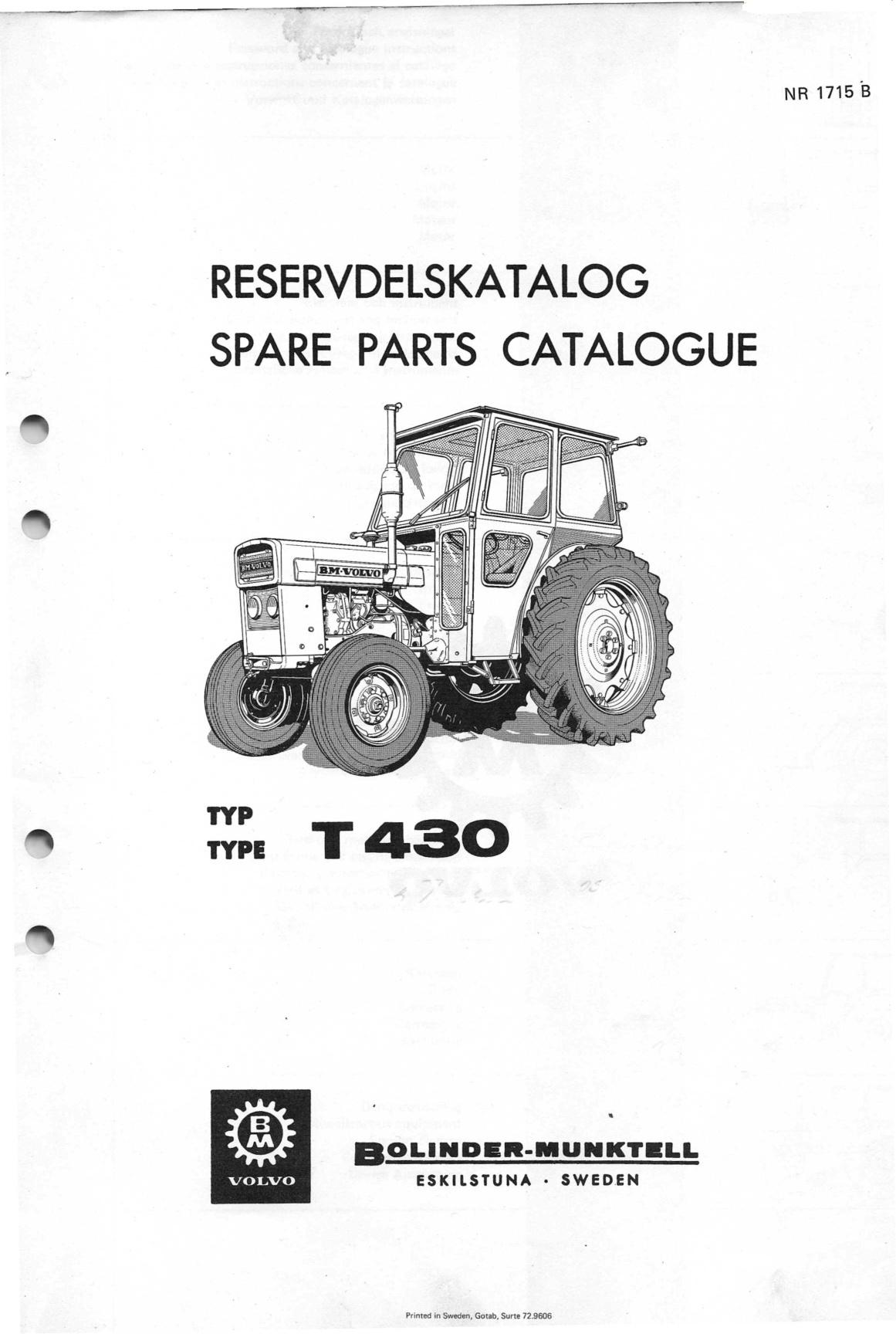 Volvo BM T430 reservdelskatalog - svenska - 118 sidor