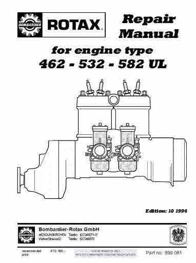 Rotax Aircraft Cart And Motorcycle Snowcat Manuals For