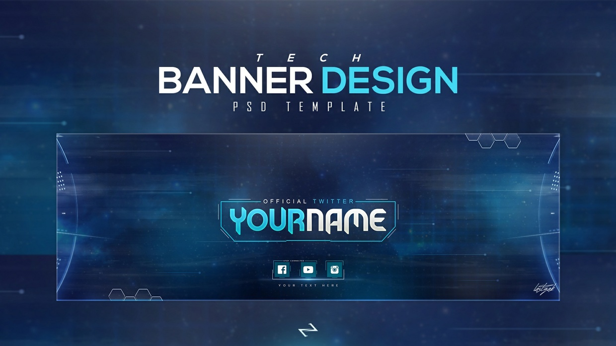 FREE TECH Twitter Header PSD Template [Free To USE]