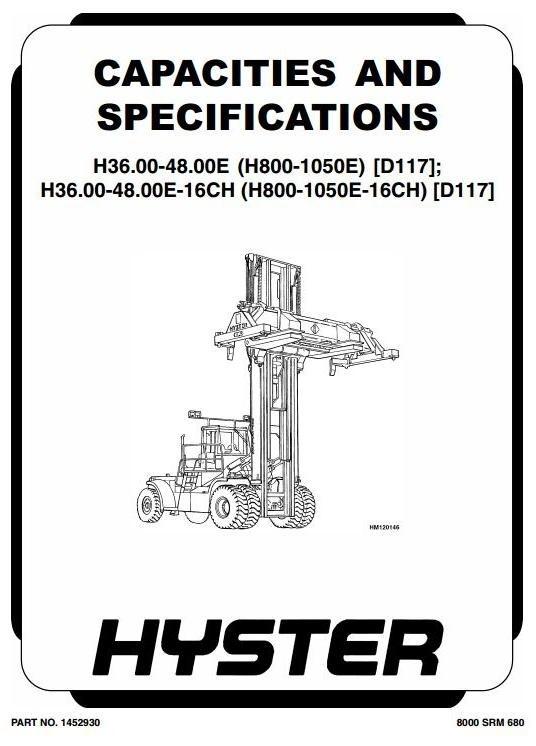 Hyster Forklift Type D117: H36/H40/H44/H48.00E (H800E, H880E, H970E, H1050E) Workshop Manual