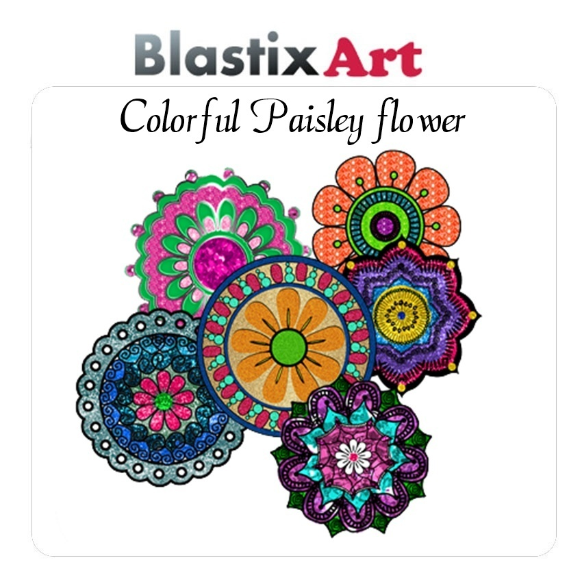 PNG-Colorful Flower paisley