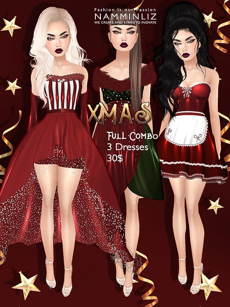 "Xmas full combo ""3 dresses"" JPG imvu texture NAMMINLIZ file sale"