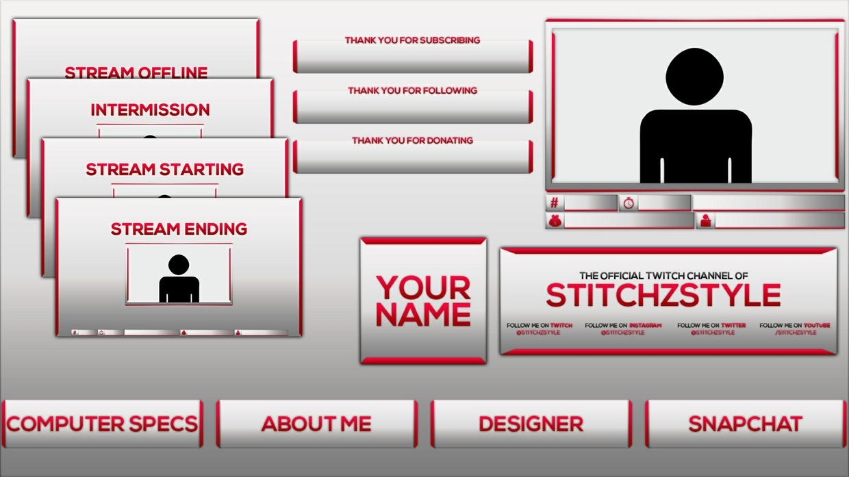 Pink and Silver Twitch Stream Rebrand and Overlay Photoshop Template Pack