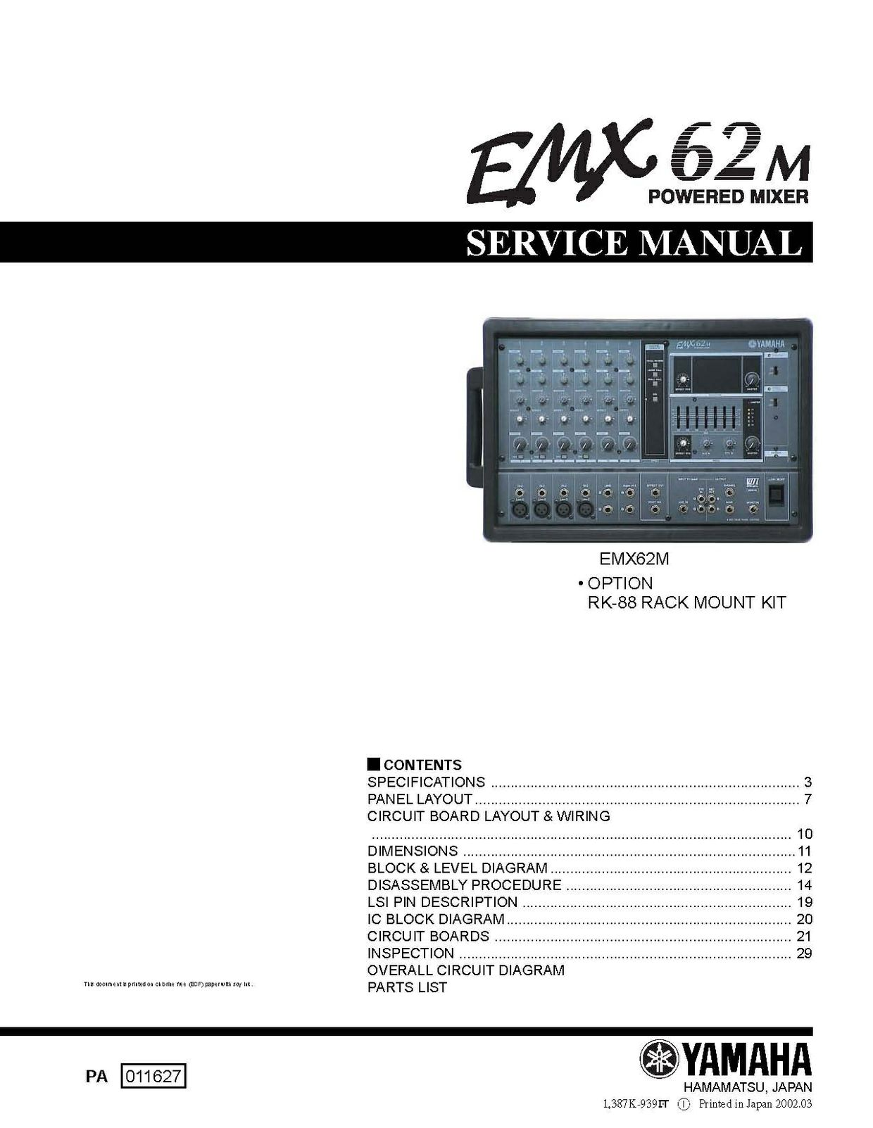 Yamaha emx62m service manual music manuals for Yamaha rx v377 manual