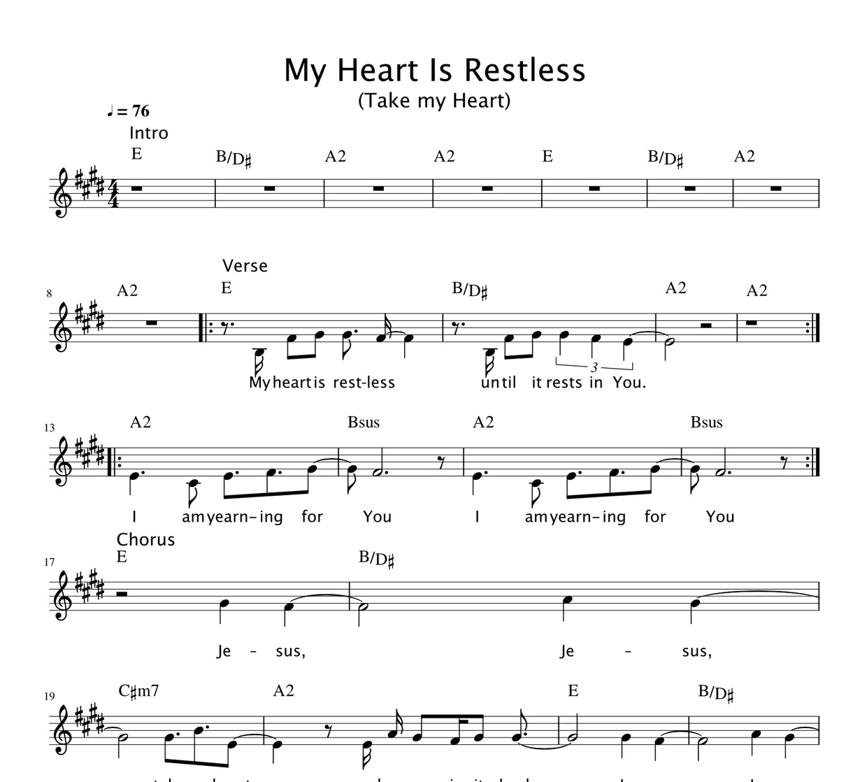 My Heart Is Restless (Take My Heart) (Chord Sheet)