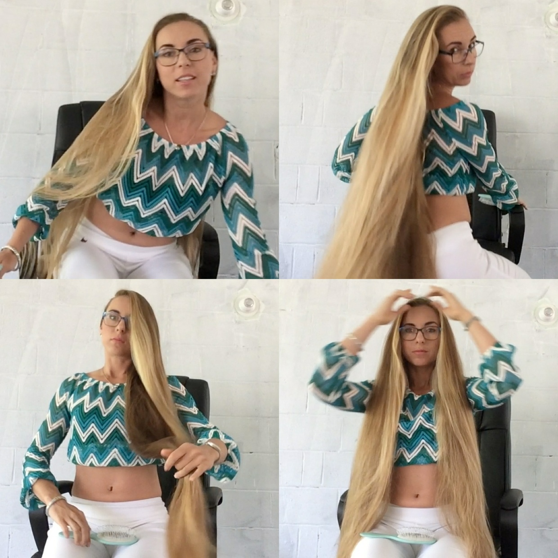 VIDEO - Amazing knee length hair play