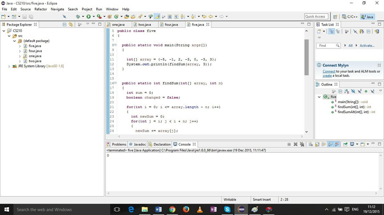 Java program that takes in an array of ints and finds the maximum..