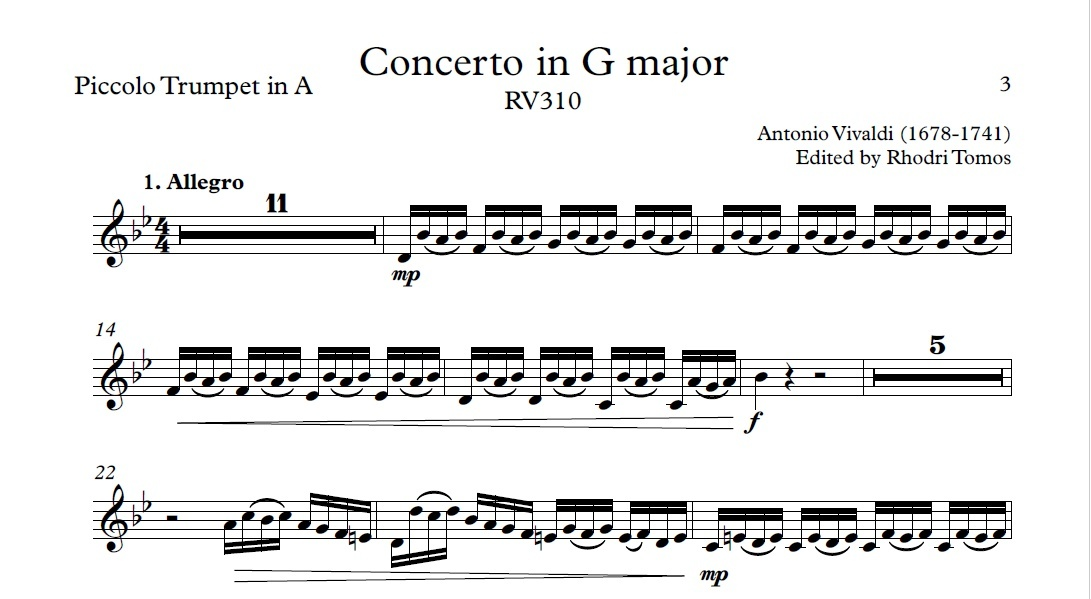 Vivaldi RV310 Concerto in G major. Play along accompaniment mp3 & solo sheet music pdf