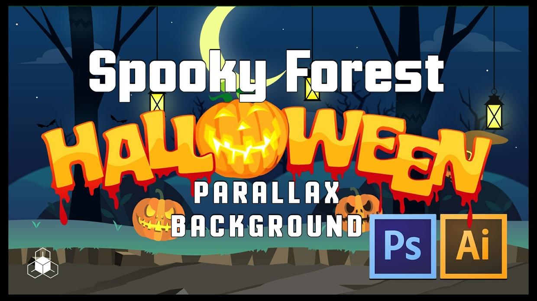 SPOOKY FOREST - 2D Cartoony Halloween Parrallax Background