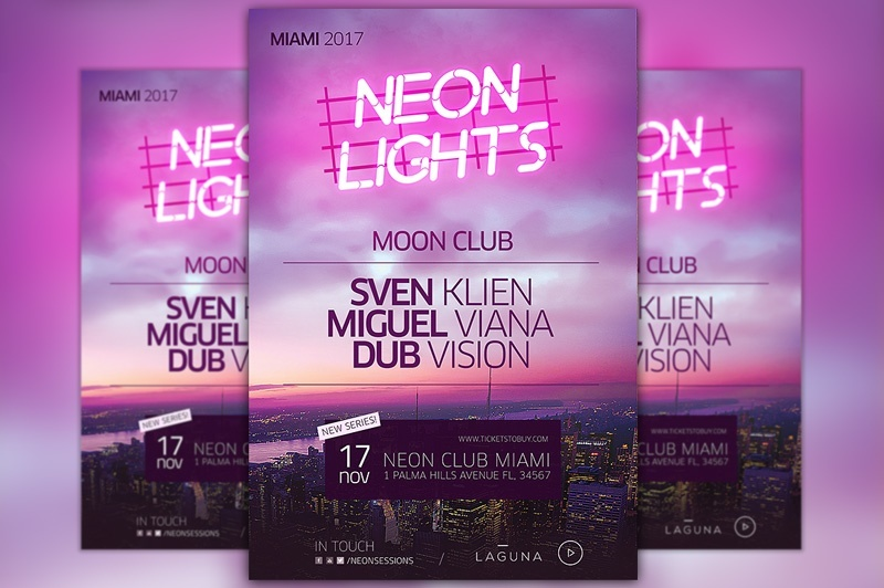 Neon City Club Flyer and Poster Template