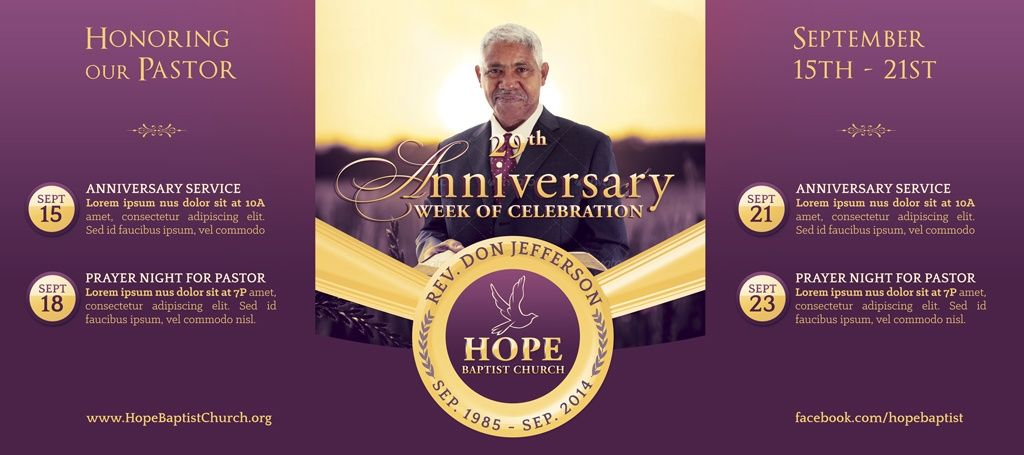 Pastor Anniversary Banner Template Godserv Designs
