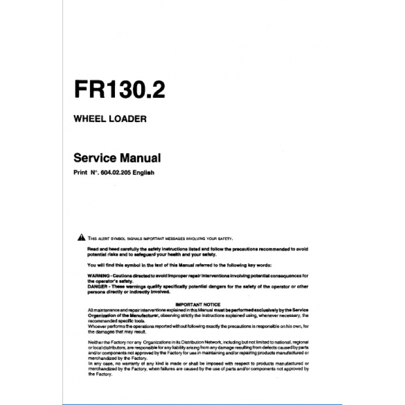 FiatAllis FR130.2 Wheel Loader Service Repair Manual PDF