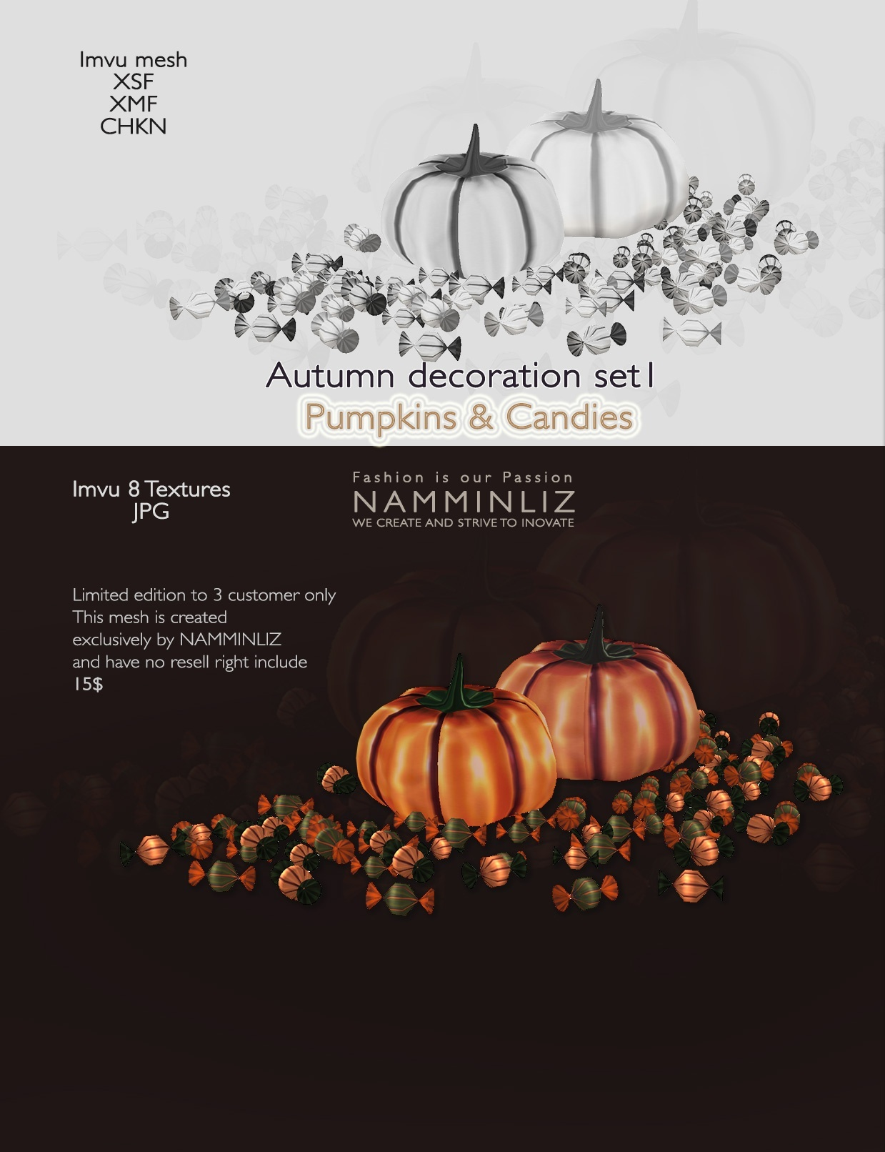 imvu 3D Mesh Autumn decor Set1 ( SXF, XMF, CHKN, JPG, Easy Guide) 0/3